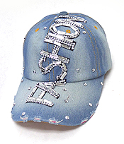 RHINESTONE WORN DENIM BASEBALL CAP - FASHION