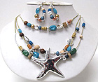 ACRYL MIXED CHIP STONE AND METAL BEADS WITH WOOD DROP HAMMERD METAL STARFISH CORD CHAIN NECKLACE EARRING SET