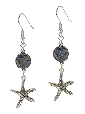 SEALIFE THEME CHARM AND ABALONE DISC EARRING - STARFISH