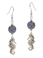 SEALIFE THEME CHARM AND ABALONE DISC EARRING - SEA HORSE