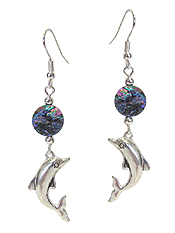SEALIFE THEME CHARM AND ABALONE DISC EARRING - DOLPHINE