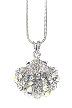 WHITEGOLD PLATING CRYSTAL SHELL PENDANT NECKLACE