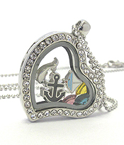 ORIGAMI STYLE FLOATING CHARM HEART LOCKET PENDANT NECKLACE - NAUTICAL - LOCKET OPENS AND CHARMS INCLUDED