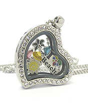 ORIGAMI STYLE FLOATING CHARM HEART LOCKET PENDANT NECKLACE - SUMMER - LOCKET OPENS AND CHARMS INCLUDED