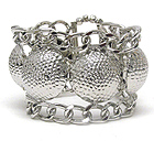 MULTI HAMMERED PUFF DISK AND CHAIN LINK STRETCH BRACELET