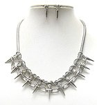CRYSTAL AND MULTI SPIKE LINK CHAIN DECO AND SNAKE CHAIN NECKLACE EARRING SET