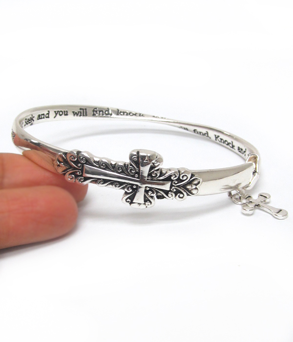 RELIGIOUS INSPIRATION MESSAGE CROSS TWIST BANGLE BRACELET - ASK IT WILL GIVEN TO YOU