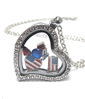 ORIGAMI STYLE FLOATING CHARM HEART LOCKET PENDANT NECKLACE-USA AMERICAN FLAG - LOCKET OPENS AND CHARMS INCLUDED