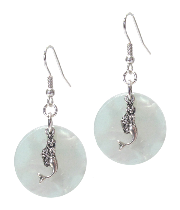 SEALIFE THEME AND ORGANIC CELLULOSE DISC EARRING - MERMAID