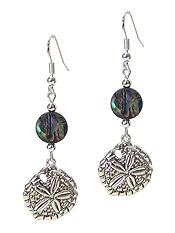 SEALIFE THEME CHARM AND ABALONE DISC EARRING - SAND DOLLAR
