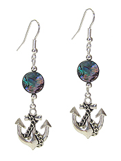 SEALIFE THEME CHARM AND ABALONE DISC EARRING - ANCHOR