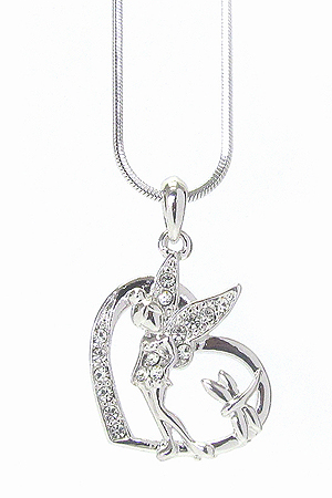 WHITEGOLD PLATING CRYSTAL FAIRY IN HEART PENDANT NECKLACE