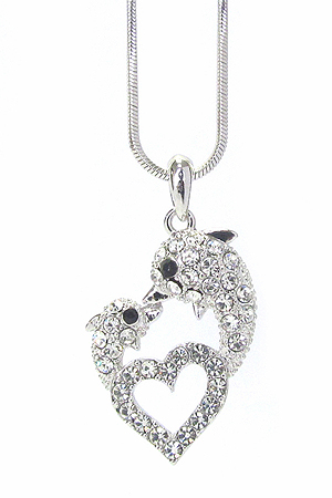 WHITEGOLD PLATING CRYSTAL DOLPHIN LOVE HEART PENDANT NECKLACE