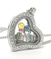 ORIGAMI STYLE FLOATING CHARM HEART LOCKET PENDANT NECKLACE - WEDDING - LOCKET OPENS AND CHARMS INCLUDED