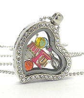 ORIGAMI STYLE FLOATING CHARM HEART LOCKET PENDANT NECKLACE - COOKING - LOCKET OPENS AND CHARMS INCLUDED