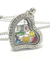 ORIGAMI STYLE FLOATING CHARM HEART LOCKET PENDANT NECKLACE - DRINKS - LOCKET OPENS AND CHARMS INCLUDED