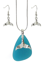 SEALIFE THEME SEA GLASS PENDANT NECKLACE SET - WHALE TALE
