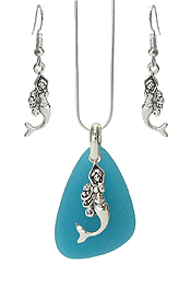 SEALIFE THEME PENDANT NECKLACE SET - MERMAID