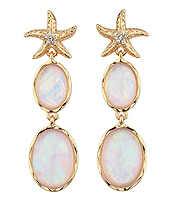 CRYSTAL STARFISH AND ABALONE FINISH DOUBLE OVAL STONE DROP EARRING