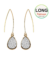 TEARDROP DRUZY FISH HOOK LONG DROP EARRING