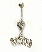 SURGICAL STEEL SEXY CRYSTAL BELLY RING  NAVEL RING