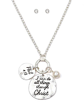 HANDMADE RELIGIOUS INSPIRATION MESSAGE DISK NECKLACE SET - I CAN DO ALL THINGS THROUGH CHRIST