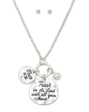 HANDMADE RELIGIOUS INSPIRATION MESSAGE DISK NECKLACE SET - TRUST IN THE LORD WITH ALL YOUR HEART