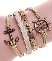 MULTI ROW LEATHERETTE WRAP BRACELET - ANCHOR WHEEL DREAM