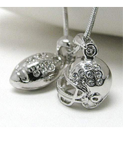 WHITEGOLD PLATING CRYSTAL STUD FOOTBALL THEME DUAL PENDANT NECKALCE