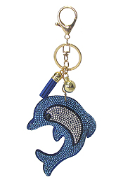 MULTI CRYSTAL LARGE PUFFY CUSHION KEY CHAIN - DOLPHINE
