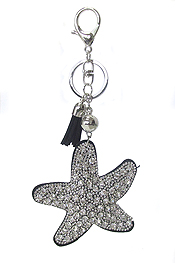 MULTI CRYSTAL LARGE PUFFY CUSHION KEY CHAIN - STARFISH