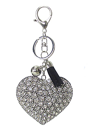 MULTI CRYSTAL LARGE PUFFY CUSHION KEY CHAIN - HEART