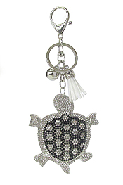 MULTI CRYSTAL LARGE PUFFY CUSHION KEY CHAIN - TURTLE