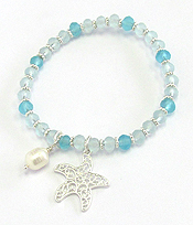 METAL FILIGREE AND FRESH WATER PEARL STRETCH BRACELET - STARFISH