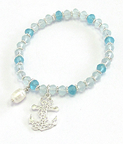 METAL FILIGREE AND FRESH WATER PEARL STRETCH BRACELET - ANCHOR