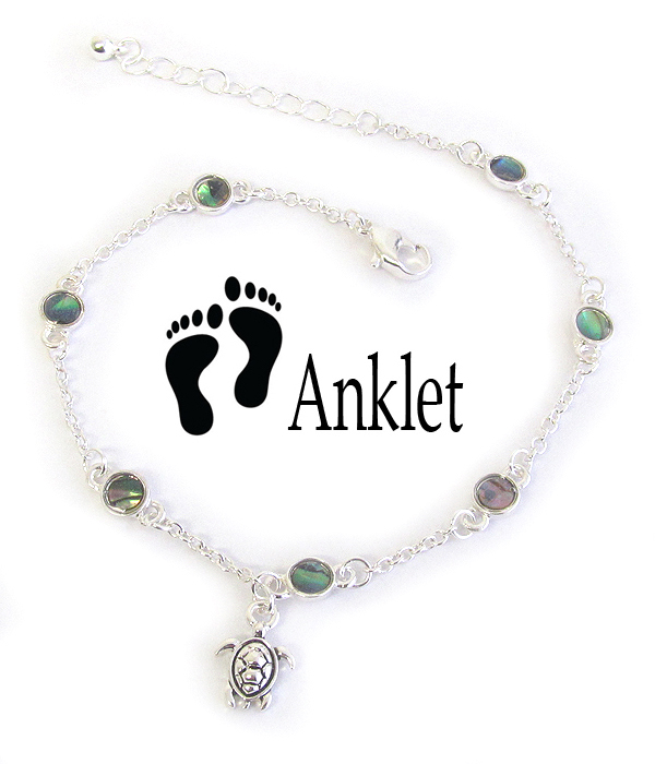 SEALIFE THEME ABALONE ANKLET - TURTLE