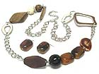 WOOD AMBER AND METAL HARMONY LARGE CHAIN LONG NECKLACE AND EARRING SET
