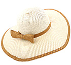PAPER STRAW SUPER FLOPPY BRIM AND ATTACHABLE BOW ACCENT SUMMER HAT