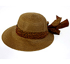 PAPER STRAW SHORT BRIM AND ANIMAL PRINT FABRIC TIE HAT