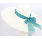 PAPER STRAW LARGE BRIM WITH WIRED EDGE AND RIBBON TIE HAT