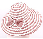STRAW AND FABRIC MIX AND ATTACHABLE RIBBON HAT
