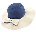 TWO TONE STRAW AND RIBBON DECO FLOPPY HAT