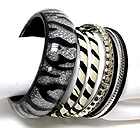 MULTI METAL AND RESIN ZEBRA PATTERN BANGLE BRACELET SET OF 7