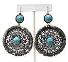 METAL FILIGREE AND CENTER TURQUOISE DECO DISK DROP EARRING
