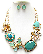 GARDEN THEME MULTI CRYSTAL FLOWER AND BUTTERFLY NECKLACE EARRING SET - Wholesale Jewelry