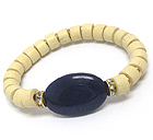 OVAL STONE AND WOODEN BEAD AND RONDELL ACCENT STRETCH BRACELET