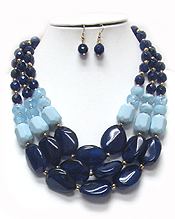 CHUNKY ACRYLIC BEADS STATEMENT NECKLACE SET