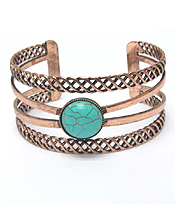 TURQUOISE CENTER COPPER LAYER METAL CUFF BRACELET
