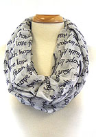 RELIGIOUS THEME INFINITY MESSAGE SCARF - FAITH HOPE LOVE  100% Viscose