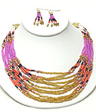 MULTI COLOR SEED BEADS AND CHAIN MIX NECKLACE EARRING SET